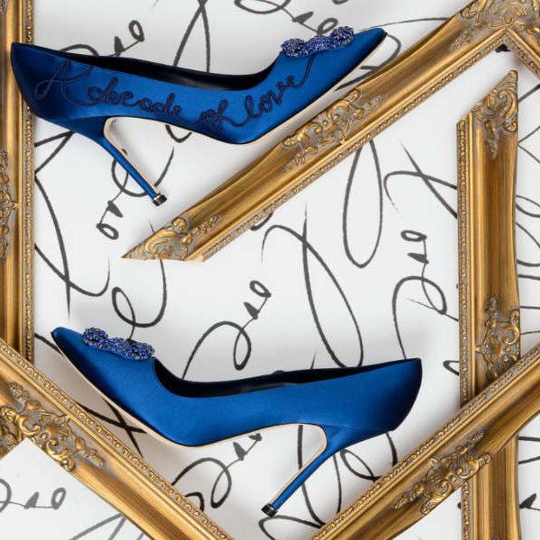 Kék Manolo Blahnik cipő