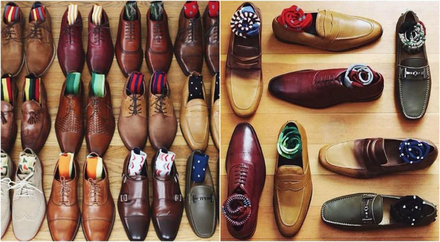 Férfi cipő színes zoknival